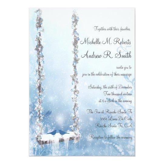 Romantic Love Swing Winter Wonderland Wedding Card