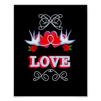 Romantic Love Tattoo Style Swallows Hearts Roses Poster
