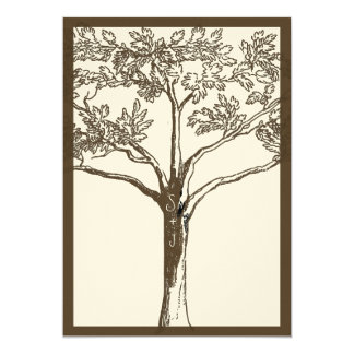 Romantic Love Tree Initials in Trunk Wedding Card
