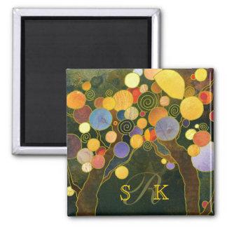 Romantic Love Trees Monogram Wedding Keepsake Square Magnet