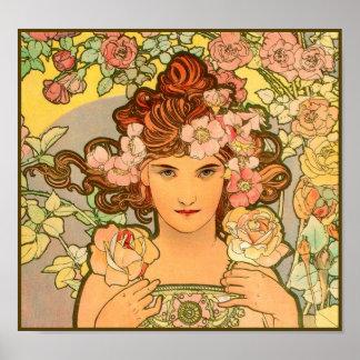 Romantic Maiden Art Nouveau Mucha Poster