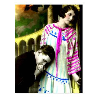 Romantic Man Kissing Woman's Hand Vintage Postcard