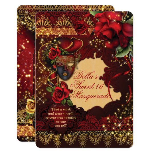 Romantic Masquerade Sweet 16 Party Invites
