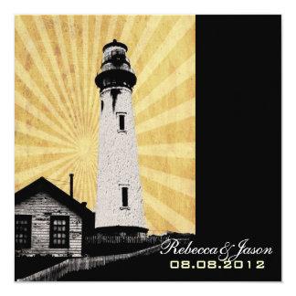 "Romantic modern elegant Lighthouse beach Wedding 5.25"" Square Invitation Card"
