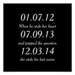 Romantic Moments Personalised Dates Custom Wedding Poster