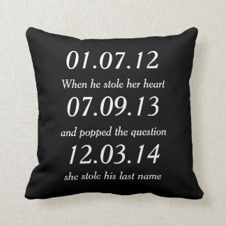 Romantic Moments Personalized Dates Custom Wedding Cushion