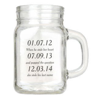Romantic Moments Personalized Dates Custom Wedding Mason Jar