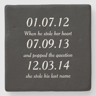 Romantic Moments Personalized Dates Custom Wedding Stone Beverage Coaster