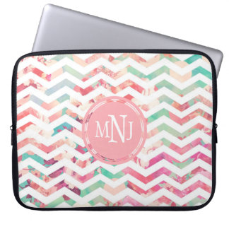 Romantic Monogram Pink Floral Pattern Chevron Laptop Sleeve