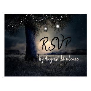 Romantic Moonlight and Lanterns in Trees RSVP Postcard