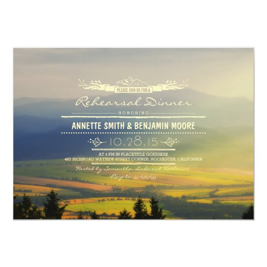 Romantic Mountains Rehearsal Dinner Invitations