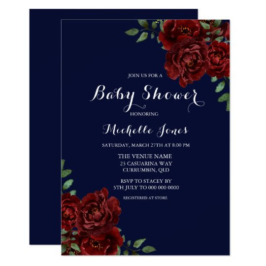 Romantic Navy & Red Rose Floral Baby Shower Card