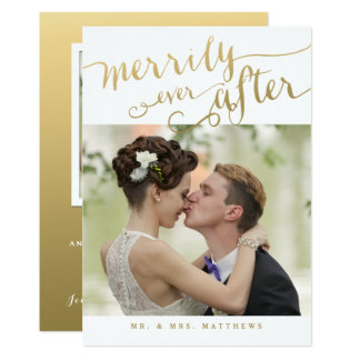 Romantic Newlyweds Gold Script Holiday Photo Card