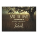 romantic night lights rustic save the date cards personalised announcement