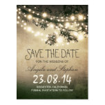 romantic night lights rustic save the date postcard