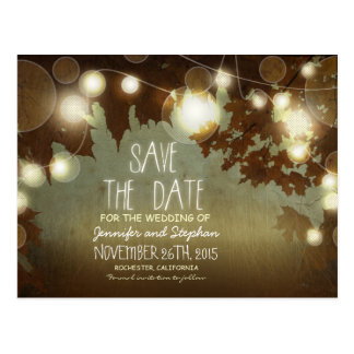 romantic night lights vintage save the date postcard