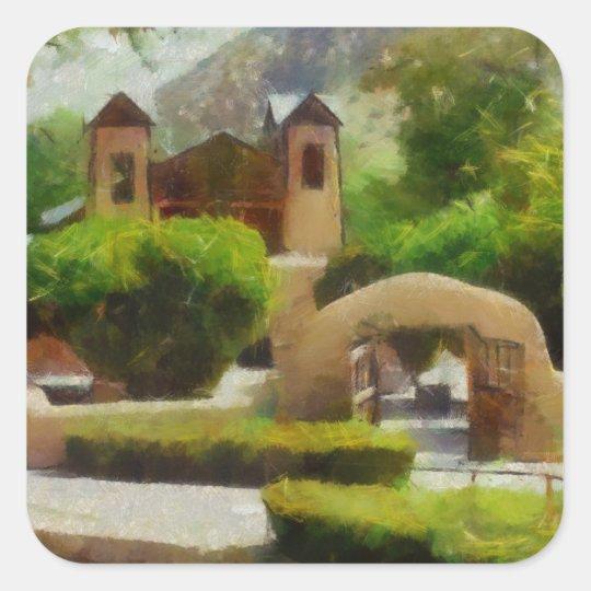 ROMANTIC OLD CHURCH, NEW MEXICO. SQUARE STICKER