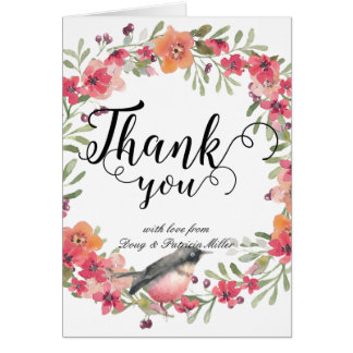 Romantic Oleander Bird Pink Floral Thank You Note Card