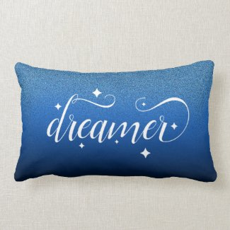 Romantic Ombre Midnight Blue Starry Dreamer Lumbar Cushion