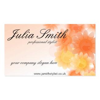Romantic orange floral business card