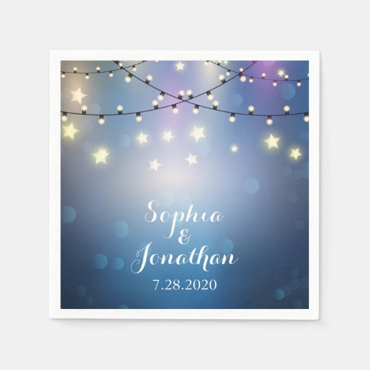 Romantic Outdoor Wedding Twinkle String Lights Paper Napkins