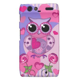 Romantic Owl roses and Hearts Motorola Droid RAZR Cases