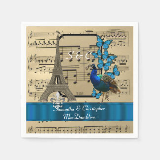 Romantic Paris and music sheet vintage wedding Disposable Serviettes