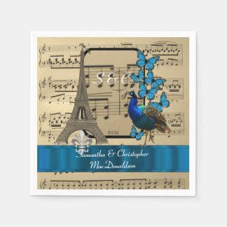 Romantic Paris and music sheet vintage wedding Disposable Serviettes