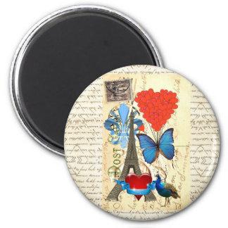 Romantic Paris collage 6 Cm Round Magnet