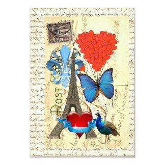 Romantic Paris collage 9 Cm X 13 Cm Invitation Card