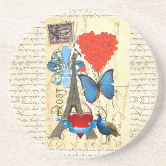 Romantic Paris collage Coaster