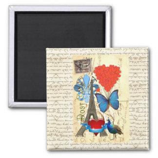 Romantic Paris collage Square Magnet