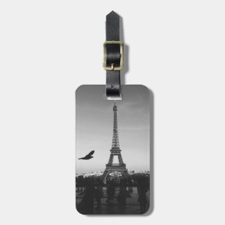 Romantic Paris Eiffel Tower Black and white Luggage Tag