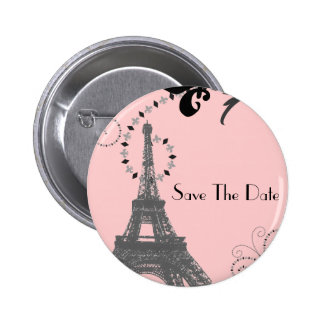 Romantic Paris Vintage Wedding Save The Date 6 Cm Round Badge