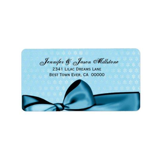 Romantic Pastel Blue Bow & Damask Wedding Label Address Label