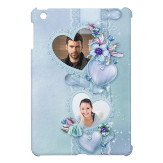 Romantic Pastel Blue Photo Hearts - Customize iPad Mini Cover