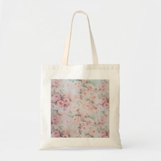 Romantic pastel pink teal elegant rose flowers tote bag
