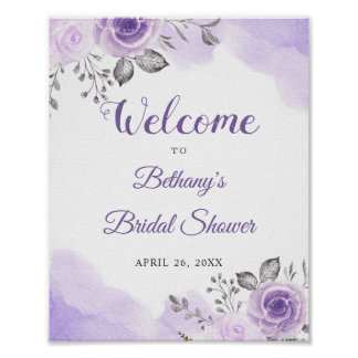 Romantic Pastel Purple Floral Bridal Shower Sign