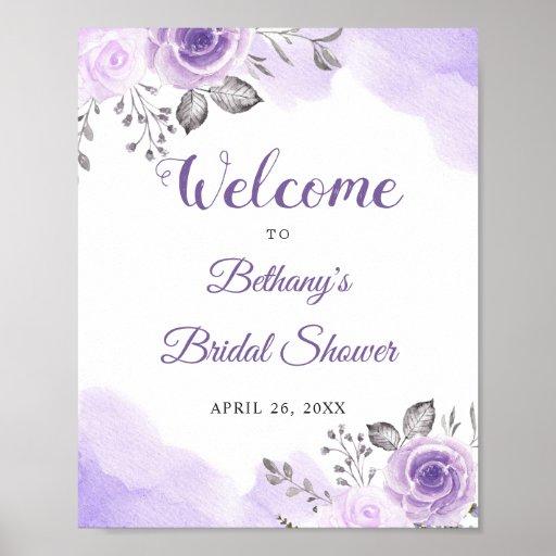 Romantic Pastel Purple Floral Bridal Shower Sign