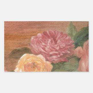 Romantic pastel roses shabby chic rectangular sticker