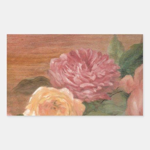 Romantic pastel roses shabby chic rectangular stickers