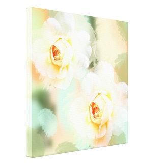 Romantic pastel watercolor Roses Canvas Print