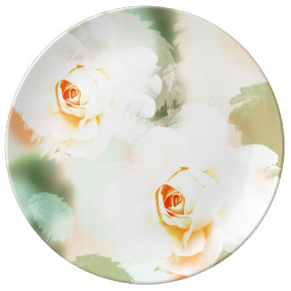 Romantic pastel watercolor Roses Plate