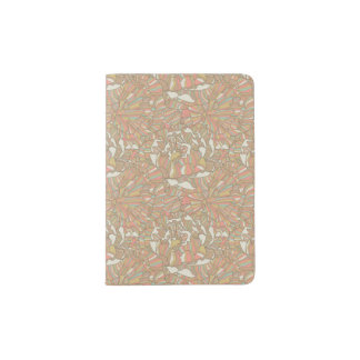 Romantic pattern made of peony flowers passport holder