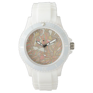 Romantic pattern made of peony flowers watch