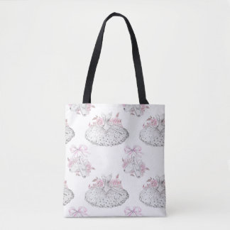 Romantic Pattern with Ballet Dresses and Ballet Sh Tote Bag