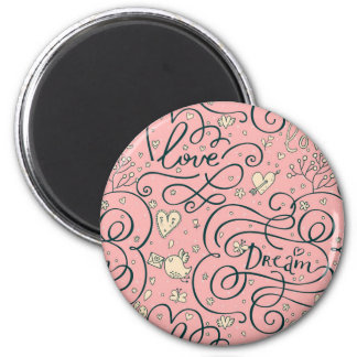 Romantic Pattern with Hearts and Birds 6 Cm Round Magnet