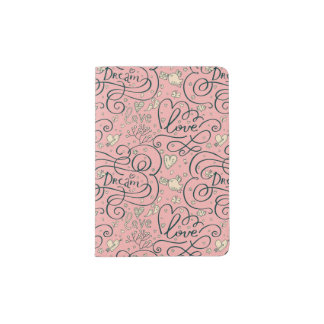 Romantic Pattern with Hearts and Birds Passport Holder