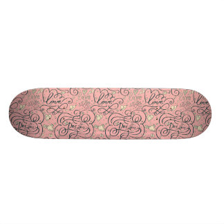Romantic Pattern with Hearts and Birds Skate Decks