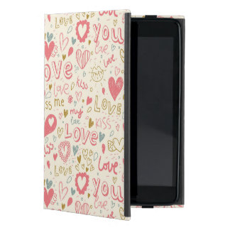 Romantic Pattern with Hearts and Lips Cover For iPad Mini